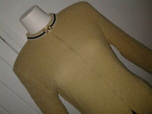 ST-JOHN-COLLECTION-BY-MARIE-GRAY-Sz-8-GOLD-KNIT-SWEATER-Full-Zip-Cardigan