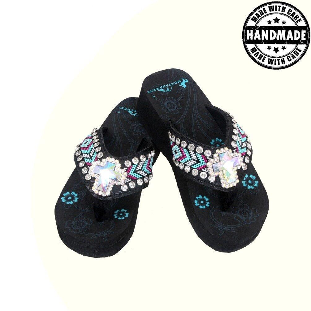 Montana West Bling Bling Flip Flops Mid Wedge Western Aztec Spongy Comfy Sandal
