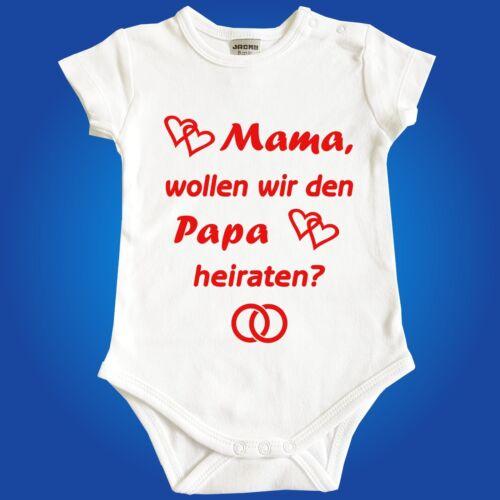 Unterwäsche Hochzeit Jacky Baby Body Babybody Papa Mama heiraten Heiratsantrag