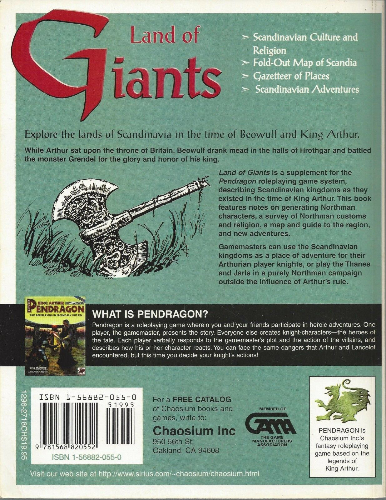 Pendragon RPG Land of Giants SC OOP NEW CHA 2718 2718 2718  Chaosium 93ae74