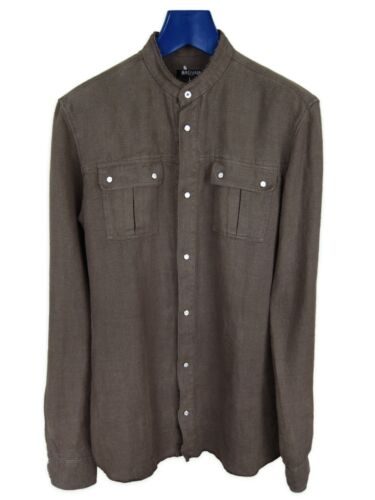 Balmain Khaki Linen Canvas Military Shirt SS13 sz.