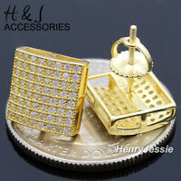 Men 925 Sterling Silver 10x9mm Iced Out Bling Gold Screw Back Stud Earringge103
