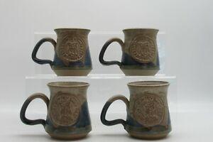 Leeds-Country-Way-Relay-1991-Handmade-Mug-Studio-Pottery-Style-Owl-Set-x-4