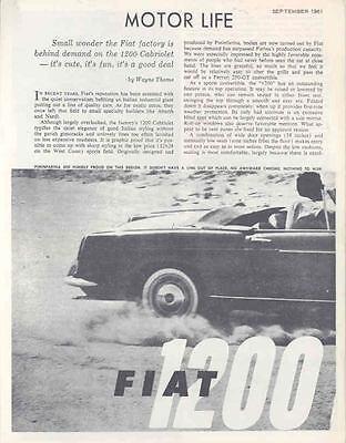 1962 Fiat 1200 Cabriolet Sales Brochure wj1653-LU7V89