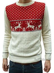 Christmas-Xmas-JUMPER-vtg-indie-retro-70-039-s-kitsch-novelty-festive-Red-Reindeer
