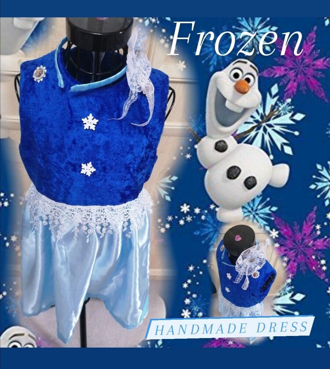 Girls handmade blue party frozen dress size 3-4