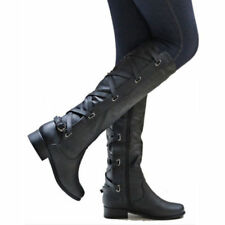 c583090df item 8 Womens Military Lace Up Leather Botas Zip Low Chunky Heel Knee High  Boots Size -Womens Military Lace Up Leather Botas Zip Low Chunky Heel Knee  High ...