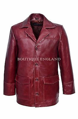 /'FIGHT CLUB/' Men/'s CHERRY Hollywood FILM Movie Style Leather Reefer Jacket Coat