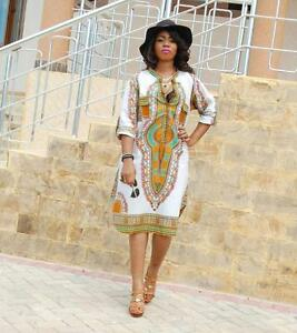 4e48e6cecaf Image is loading Summer-Women-Deep-V-Neck-Dress-African-Print-