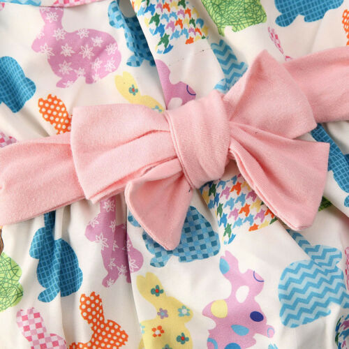 NEW Easter Bunny Rabbit Baby Girls Ruffle Romper Jumpsuit /& Headband Outfit Set
