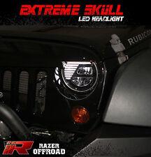 07-17 Jeep JK Wrangler Rock Crawler Black LED Headlight DRL+Hi+Lo Beam+Cree LEDs