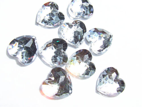 80 Clear Love Heart Faceted Beads Acrylic Rhinestones//Gems 16 mm Flat Back SewOn