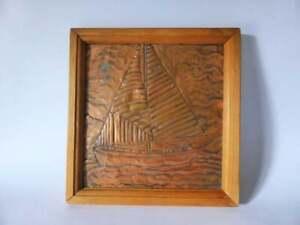 Copper-Ship-Relief-Wall-Hanging-Vintage-Decorative-Nautical-Copper-Plaque