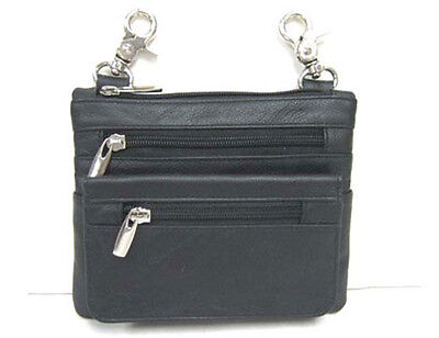 BLACK MOTORCYCLE BIKER GENUINE LEATHER  CLIP-ON WAIST POUCH BAG Phone Pouch