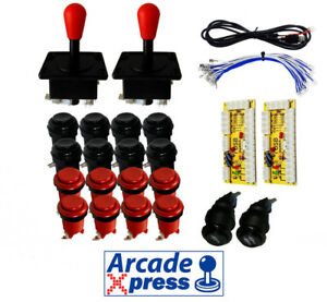 Kit-Joysticks-Americanos-Arcade-Rojos-16-botones-2-player-Usb-MAME-Bartop
