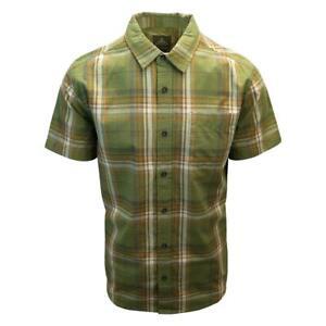 prAna Men's Green Orange Plaid Benton S/S Woven Shirt S04