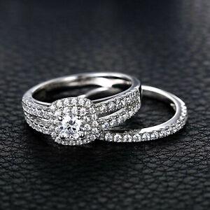 2-ct-Round-Cut-Diamond-14k-White-Gold-Fn-Bridal-Set-Halo-Engagement-Wedding-Ring