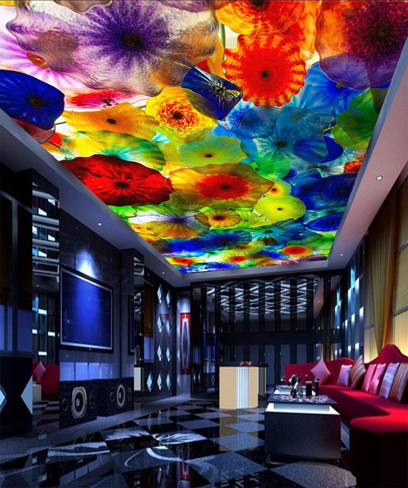3D Lotus Leaf 402 Ceiling WallPaper Murals Wall Print Decal Deco AJ WALLPAPER UK