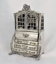 19thC Large Dutch Miniature Silver Bureau Bookcase Secretary Cabinet Furniture