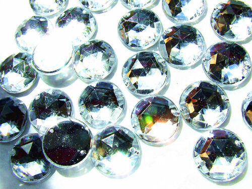 200 Crystal Clear Faceted Beads Acrylic Rhinestone//Gems 10 mm Flat Back StitchOn