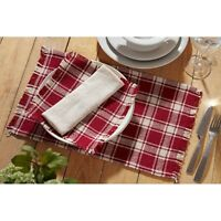 Breckenridge Placemat Burlap Plaid Rustic Primitive Burgundy Set Of 2 12x18