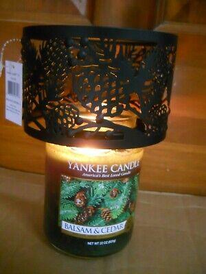 NIB Yankee Candle Black Metal Pinecone Jar Shade #1532166