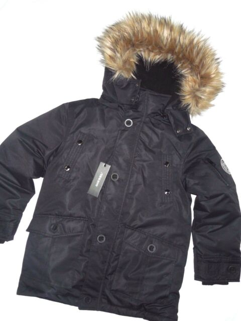 6bee29945 Diesel Boys Black Removable Faux Fur Hooded Parka Jacket Youth Size ...