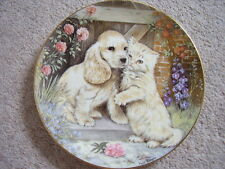 Royal Worcester England Porcelain cat-dog plate,Friends Forever