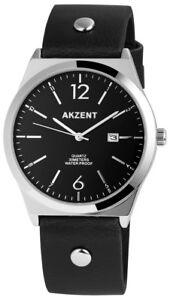 Akzent-Herrenuhr-Schwarz-Silber-Analog-Datum-Kunst-Leder-Quarz-XSS7221000059
