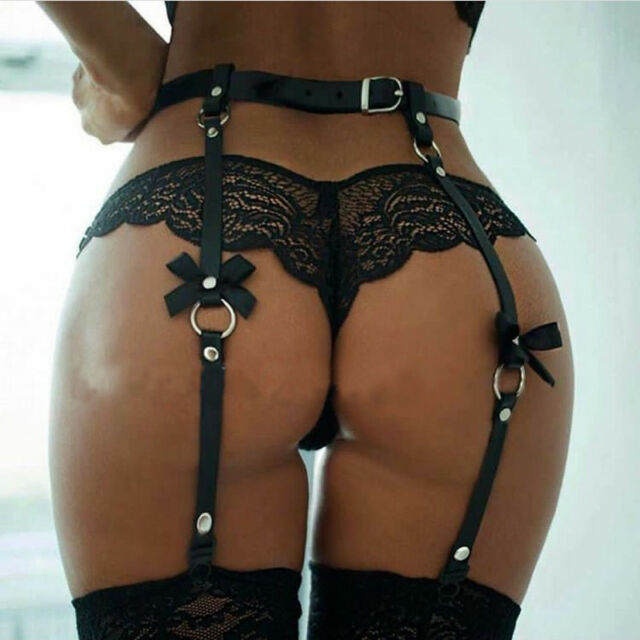 Sexy PU leather Waist Garter belt for Stockings Bow Punk Costume 4 suspenders