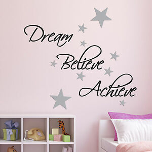 Image Is Loading Dream Believe Achieve Wall Sticker Pack Includes 60