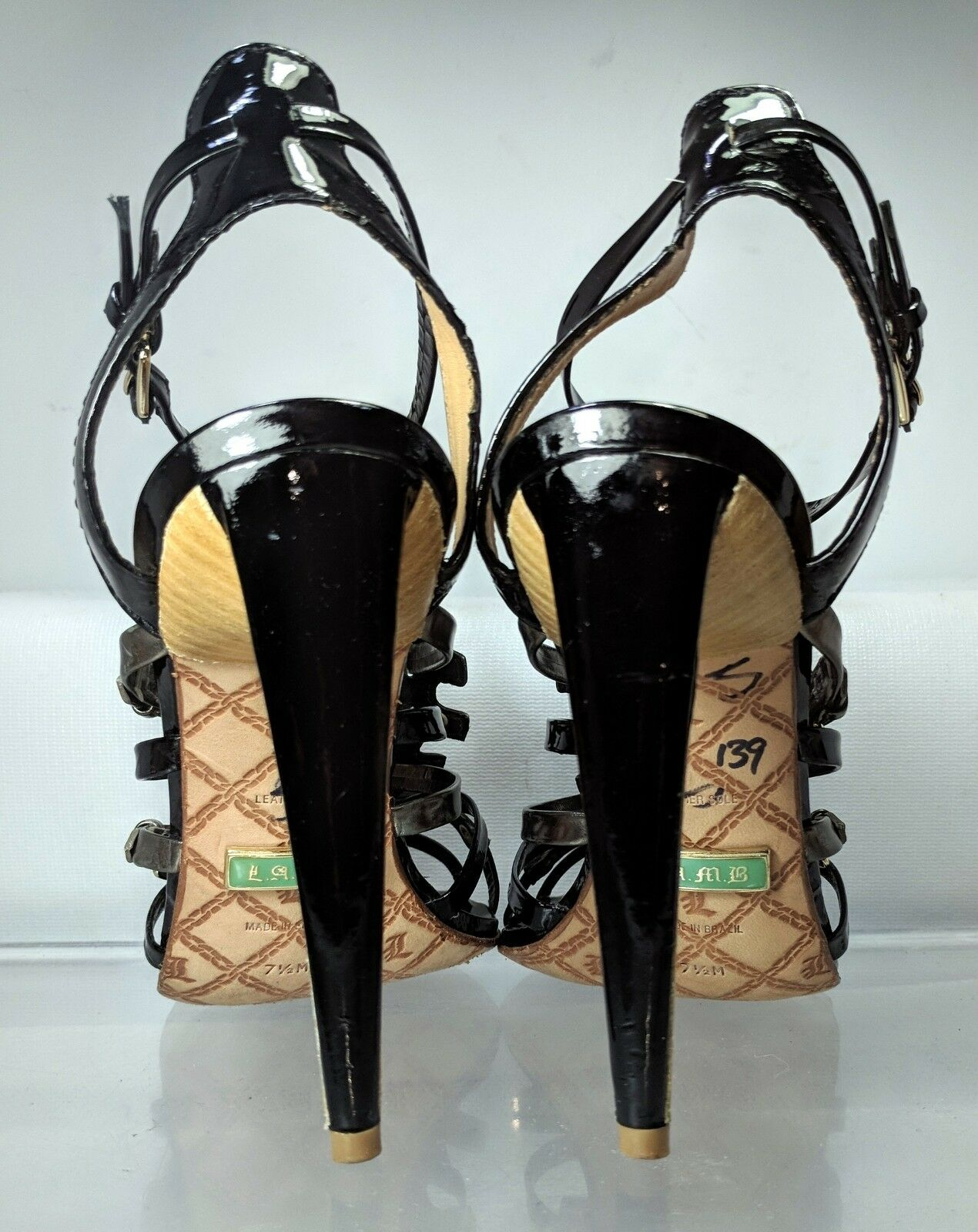 LAMB High Heel Cage Damens Multi Buckle Strap Sandale Damens Cage US 7.5 Brazil Good Shape cb6693