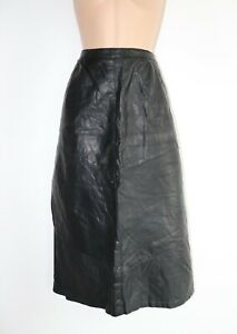 Women-039-s-Vintage-High-Waist-Mid-Calf-A-Line-Black-100-Leather-Skirt-UK12-W30-034