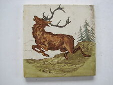 """ANTIQUE VICTORIAN WEDGWOOD """"SCENES IN THE HUNTING FIELDS""""  TILE """"A GOOD SHOT"""""""