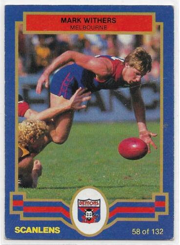 1986 Scanlens 58 Mark WITHERS Melbourne ExcNm