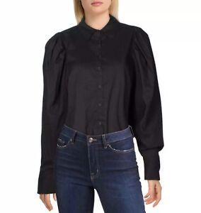 Danielle Bernstein Womens Puff Sleeve Collar Bodysuit Top S