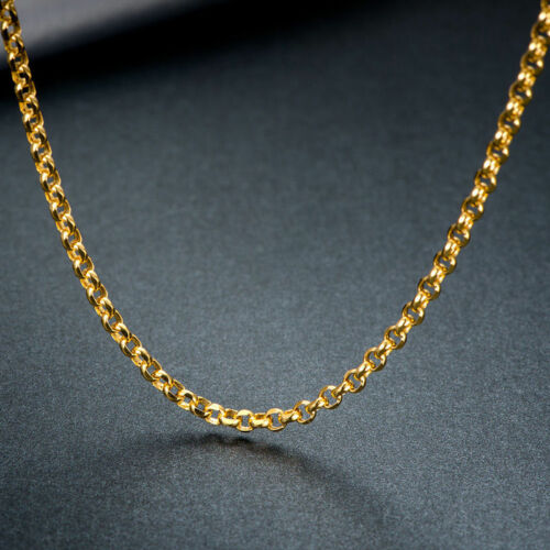 """Authentic Au750 18K Yellow Gold Necklace Perfect Cable Link Chain  2mmW  17.7/""""L"""