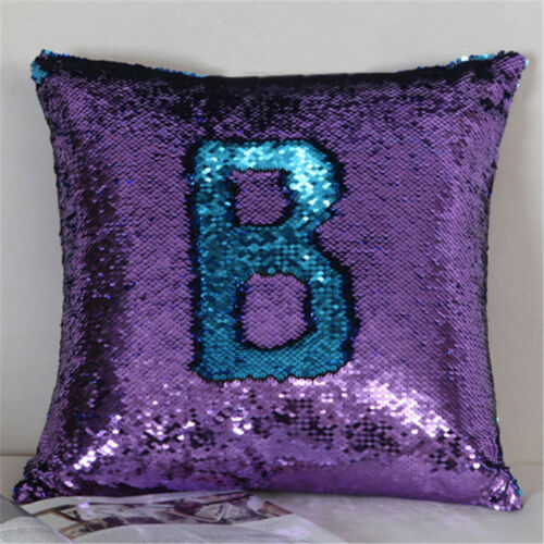 Reversible Mermaid Pillow Case Sequin Glitter Cushion Covers Home Sofa Bed Decor
