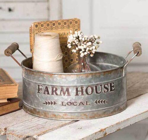 Farm House Local Vintage Style Tin Bin Tray Wood Handles Farmhouse Round Rustic