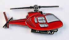 HELICOPTER - LAPEL PIN BADGE - AVIATION FLYING ROTORCRAFT CHOPPER RED  141