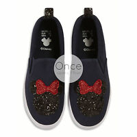 Primark Ladies Disney Minnie Mouse Glitter Logo Slip On Sneakers Trainers Shoes