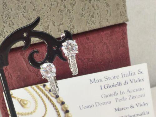 Orecchini Donna Oro Bianco Zirconi 0,7 mm Gioielli Donna  I Gioielli Di Vicky
