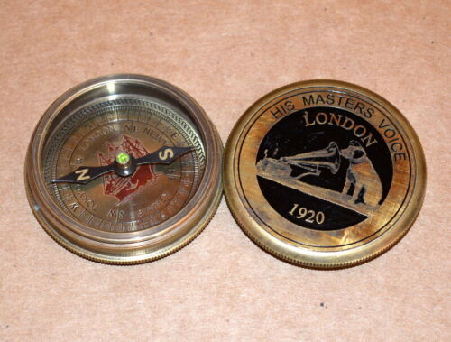 """Antique vintage nautical solid brass 2/"""" compass master voice collectible compass"""
