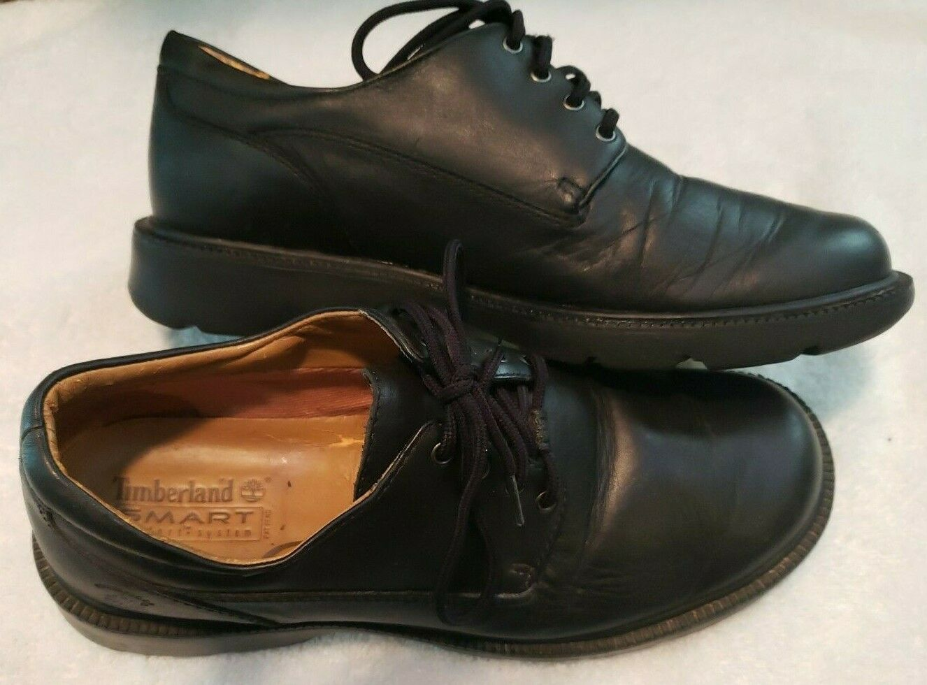 Timberland Smart Comfort Oxford Black Leather WATERPROOF Shoes Women's 8M