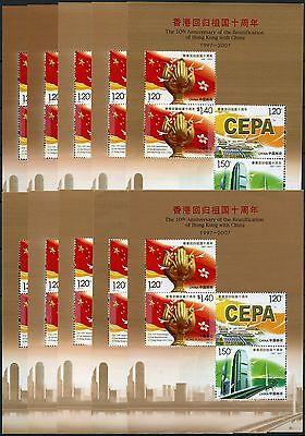 10x China PRC 2007-17 10th Anniversary of Reunification Hong Kong Block 137 MNH