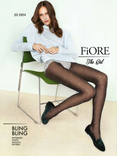 FIORE Bling Bling Luxury 20 Denier Super Fine Dot Patterned Tights 2 Colours