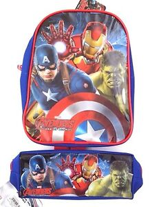 Marvel-Avengers-Age-Of-Ultron-Boy-039-s-Toddler-Backpack-And-Pencil-Case-2-Piece-Set