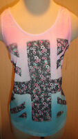 Ladies Jerry Leigh Apparel Pink & Blue Lightweight Floral Flag Tank Top Juniors