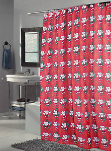 Image Is Loading Santa Claus Fabric Shower Curtain Matching Hooks Christmas
