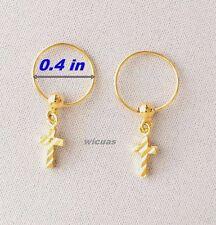 Earrings Gold Plated Micron Hoop Baby Girls Women Thai Small GP Cross Dangle